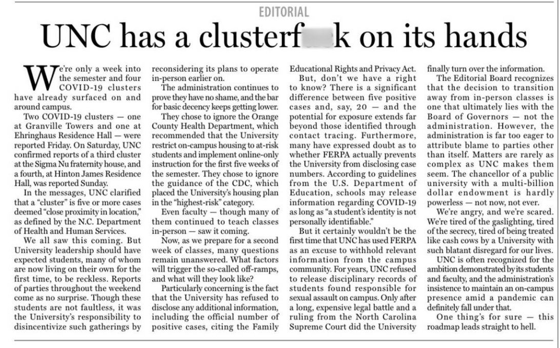 Screenshot_2020-08-18 COVID-19 cases at UNC are 'cluster #$%,' student newspaper says in scathing editorial